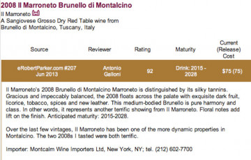 2008 Brunello by Robert Parker's review