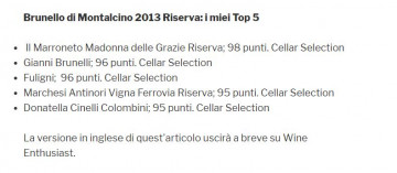 Kerin O'Keefe awards our Riserva Madonna delle Grazie 2013 with 98 points